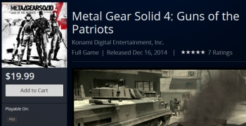 You can now buy a digital copy of MGS4 on PSN
